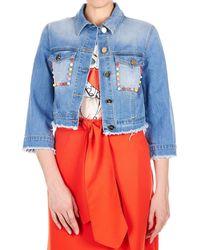 Elisabetta Franchi - Blue Cotton Jacket - Lyst