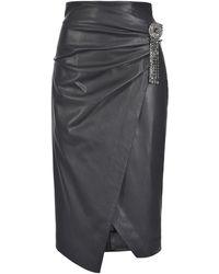 Pinko Black Polyester Skirt