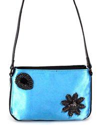 Pinko - Light Blue Faux Leather Shoulder Bag - Lyst