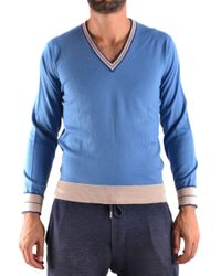 Ballantyne Blue Cotton Jumper