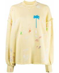 Palm Angels Sweatshirt mit Palmen-Motiv - Gelb