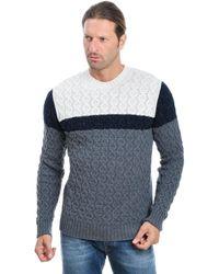 Paolo Pecora Multicolour Wool Jumper - Blue