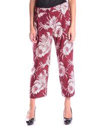 Prada Women's Mcbi244070o Burgundy Silk Pants - Red
