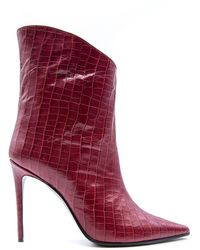 Aldo Castagna Leather Ankle Boots - Red