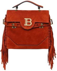 Balmain B-buzz 23 Fringe-trimmed Suede Top Handle Bag - Red