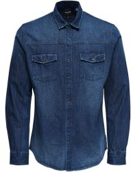 Only & Sons Blue Cotton Shirt