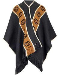 Gucci Poncho aus Wolle mit GG Streifen - Grau