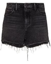 Alexander Wang Ausgefranste Jeans-Shorts - Schwarz