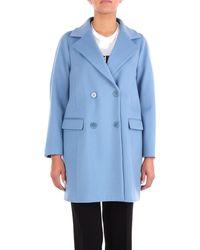 Alberto Biani Blue Wool Coat