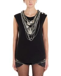 Balmain Necklace Detail Tank Top - Black