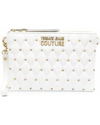 Versace Jeans Couture Studded Logo-plaque Clutch Bag - White