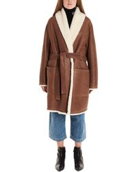 Loewe Belted Leather Shearling Coat - Brown