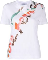 Ferragamo Logo Print Short-sleeved T-shirt - White