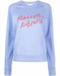 Maison Kitsuné Maison kitsuné felpa hw00313km0001p426 cotone - Blu