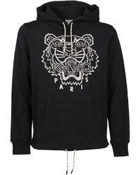 KENZO Blanket-stitch Tiger Cotton Hoodie - Black
