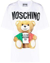 Moschino Oversized-T-Shirt mit Teddy-Print - Weiß