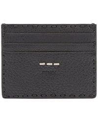 Fendi Leather Card Holder - Black