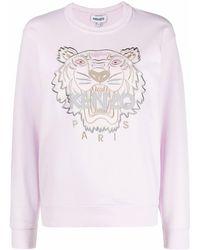 KENZO Sweatshirt mit Logo-Stickerei - Pink