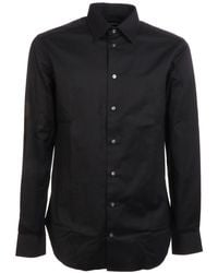 Emporio Armani Black Cotton Shirt