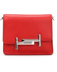 Tod's - Red Leather Clutch - Lyst
