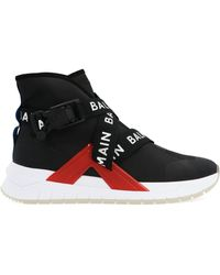 Balmain - Black Synthetic Fibers Hi Top Sneakers - Lyst