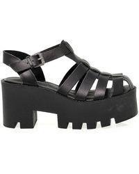 Windsor Smith Windfluffy Leather Sandals - Black