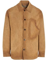 Golden Goose Deluxe Brand Leather Shirt - Natural