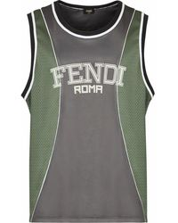 Fendi Trägershirt mit Logo-Print - Grau
