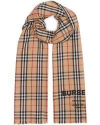 Burberry Check Print Scarf - Natural