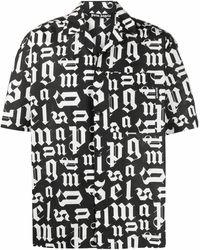 Palm Angels Bowlinghemd mit Logo-Print - Schwarz