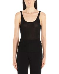 Theory Black Synthetic Fibres Tank Top