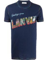 Lanvin T-shirt With Logo Navy Blue