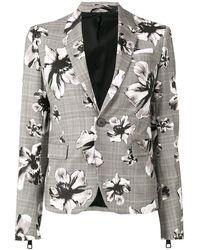 Neil Barrett Check Floral Blazer - Grey