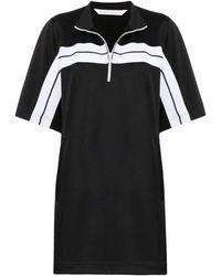 Palm Angels Stripe-print Short-sleeve Track Dress - Black
