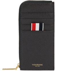 Thom Browne Grey Leather Card Holder - Gray