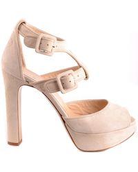 Twin Set Beige Suede Sandals - Natural