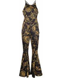 Versace Jeans Couture Regalia Baroque-print Flared Jumpsuit - Black