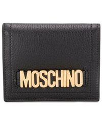 Moschino Portemonnaie mit Logo-Schild - Schwarz