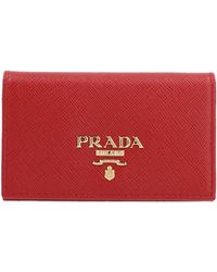 Prada - Red Leather Wallet - Lyst