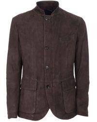Eleventy Brown Suede Outerwear Jacket