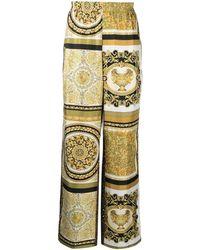 Versace Seidenhose mit Print-Mix - Braun