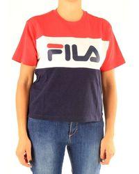 Fila - Blue Cotton T-shirt - Lyst