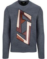 Fendi - Grey Wool Sweater - Lyst