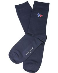 Maison Kitsuné Blue Cotton Socks