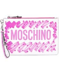 Moschino Multicolour Leather Pouch - Pink