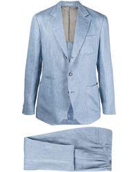 Brunello Cucinelli Einreihiger Anzug aus Leinen - Blau
