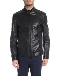 Emporio Armani Black Leather Outerwear Jacket