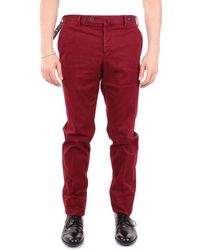 PT01 Burgundy Cotton Trousers - Red
