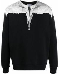 Marcelo Burlon Crew Neck Cotton Sweatshirt With Wings Print - Black