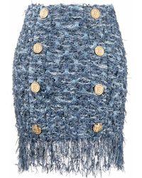 Balmain Tweed-Rock mit Fransen - Blau